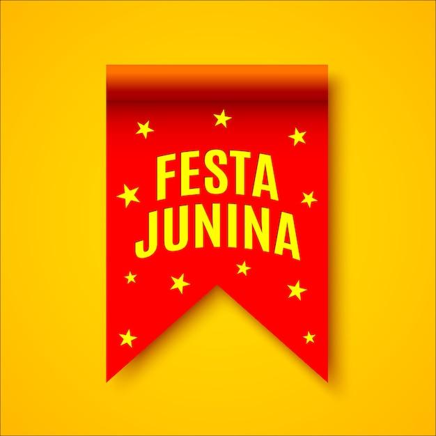 Fita realista vermelha com estrelas amarelas. decoração com nome de festival brasileiro. .