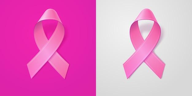 Fita rosa realista sobre fundo rosa e cinza claro. símbolo de conscientização do câncer de mama em outubro. modelo de banner, cartaz, convite, folheto. Vetor Premium