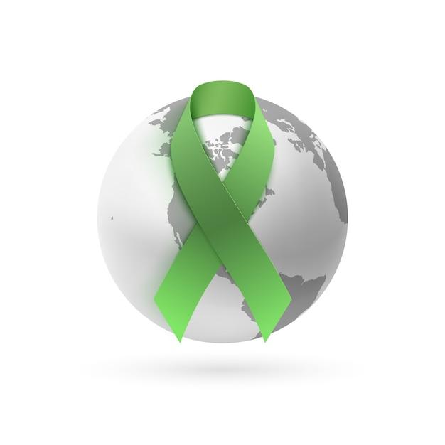 Fita verde com ícone de terra monocromático isolado no fundo branco. modelo de cartaz, cartão ou brochura. Vetor Premium