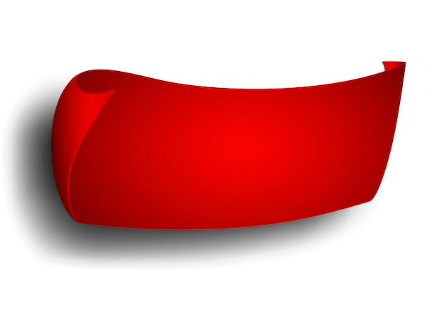 Fita vermelha, banner, publicidade. Vetor Premium