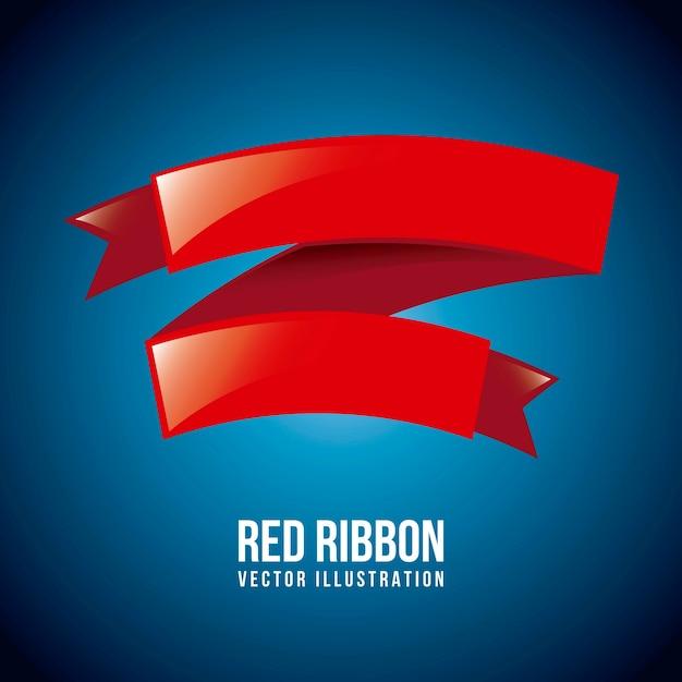 Fita vermelha sobre ilustração vetorial de fundo azul Vetor Premium