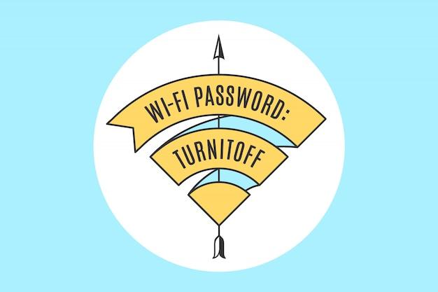 Fita vintage sinal wifi para acesso wi-fi no café ou restaurante Vetor Premium