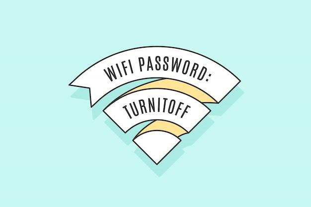 Fita vintage sinal wifi para acesso wi-fi Vetor Premium