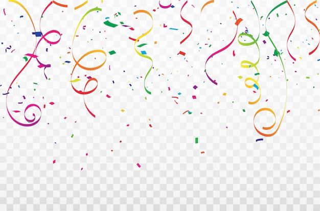 Fitas coloridas do carnaval da celebração dos confetes. luxo rico saudação cartão. Vetor Premium