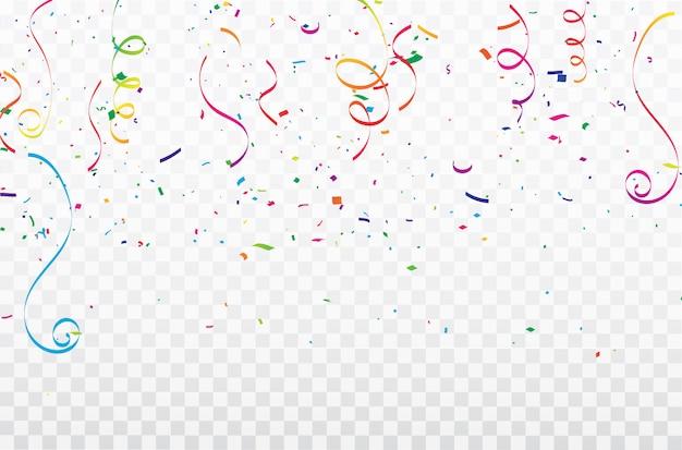 Fitas coloridas do carnaval da celebração dos confetes. Vetor Premium