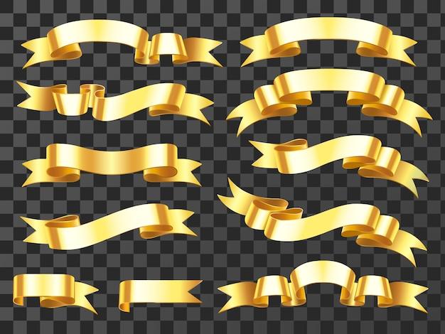 Fitas de celebração horizontal dourada e ilustração em vetor banners prêmio Vetor Premium