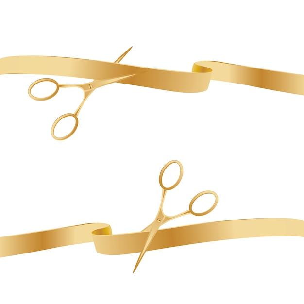 Fitas de cerimônia de corte de tesouras douradas. Vetor Premium