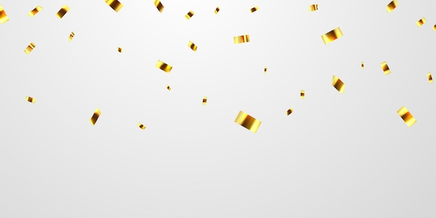 Fitas de confete ouro. Vetor Premium