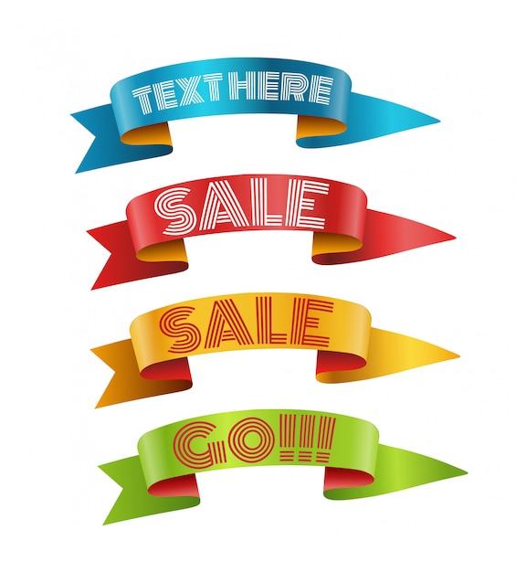 Fitas de cor com coleta de vetor de texto. modelo para um texto. coleção de banners isolada no branco Vetor Premium