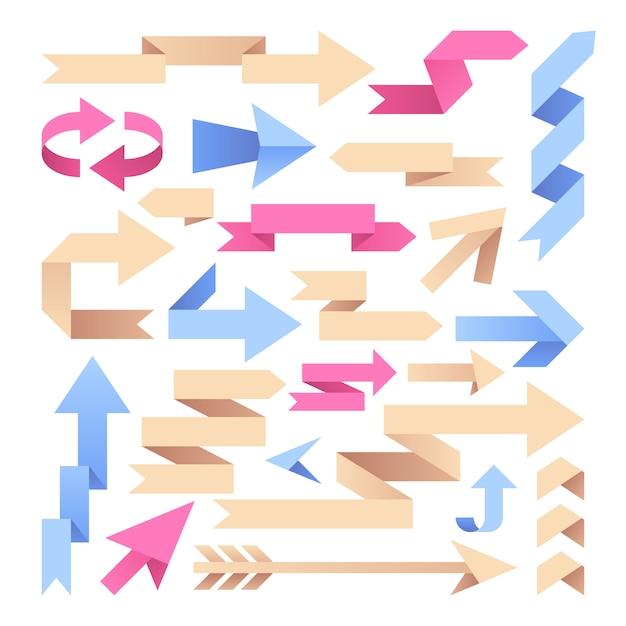 Fitas de flecha. setas de papel origami. grupo do vetor das setas do vintage da cor. ilustração, de, fita seta Vetor Premium