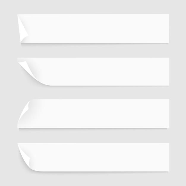 Fitas de papel branco com sombras Vetor Premium