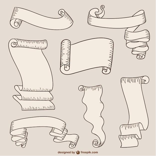 Fitas de papel e rolos Vetor grátis