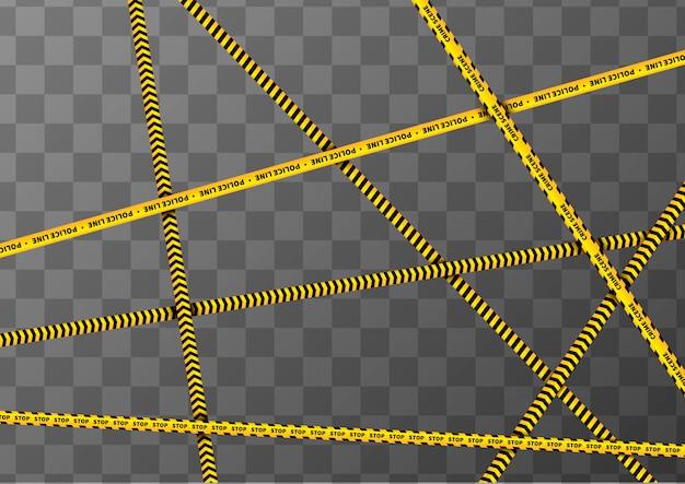 Fitas de precaução amarelo e preto diferentes sobre fundo transparente a4 Vetor Premium