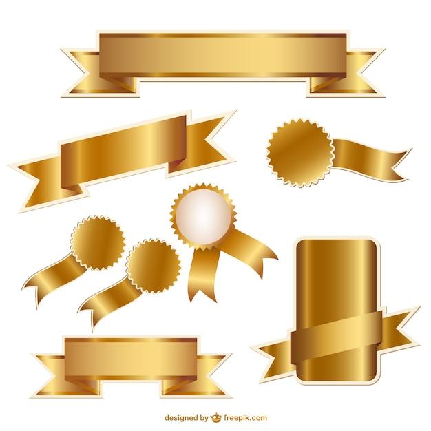 Fitas douradas e emblemas gr ficos vetoriais baixar for Drawing websites no download