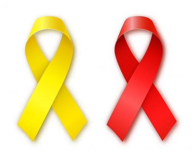 Fitas vermelhas e amarelas de conscientização do câncer. dia mundial do câncer. dia do câncer infantil. ilustração vetorial Vetor Premium