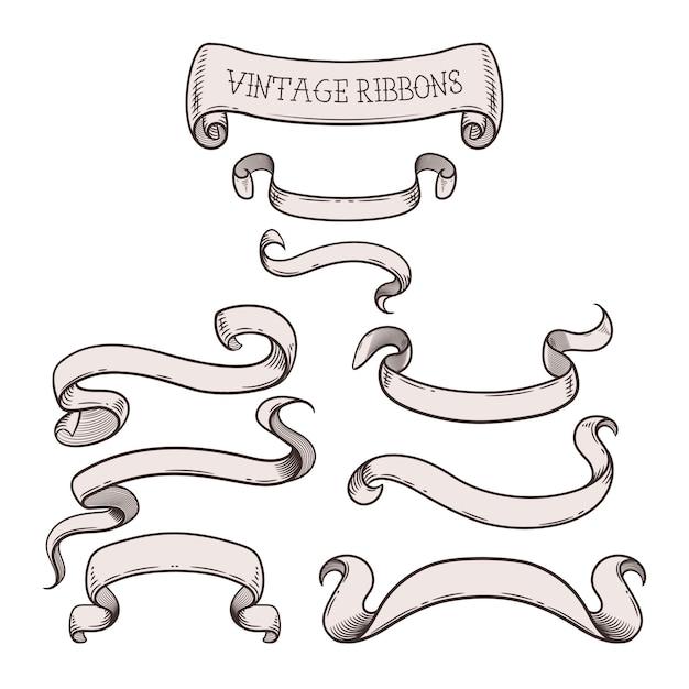 Fitas vintage para sua mensagem, conjunto de elementos de design decorativo bonito. ilustração Vetor Premium