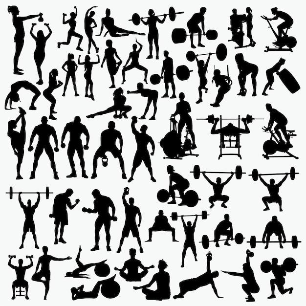 Fitness 1 silhuetas Vetor Premium