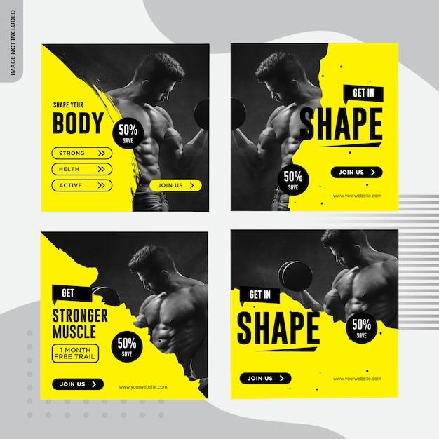 Fitness, design de banner de mídia social de ginásio Vetor Premium