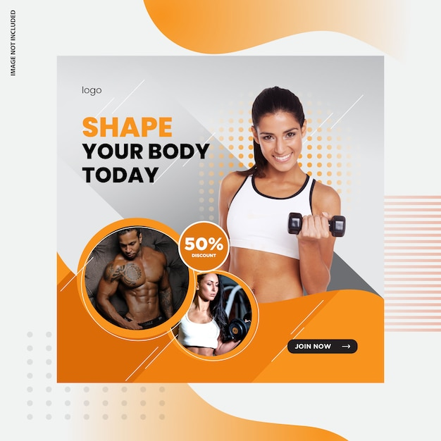 Fitness, design de post de mídia social de ginásio Vetor Premium