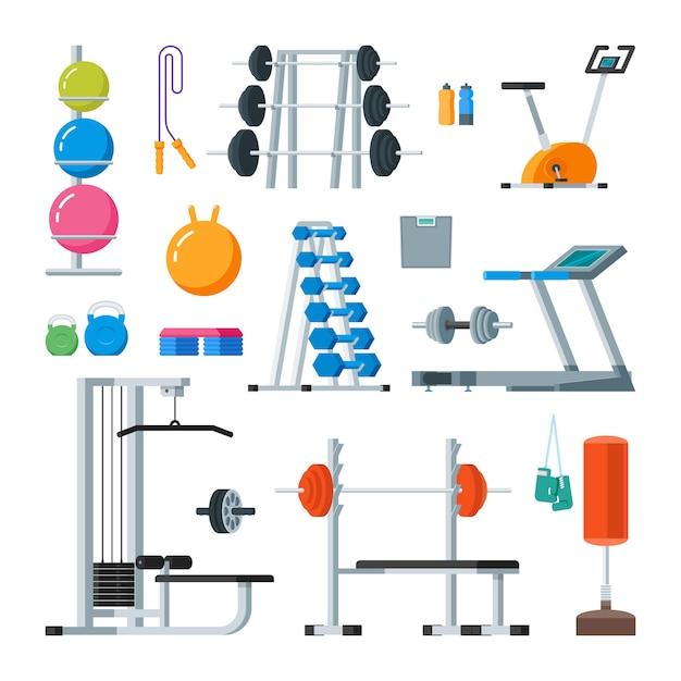Fitness e exercício físico no ginásio. conjunto de vetores de estilo plano de ícones isolado Vetor Premium