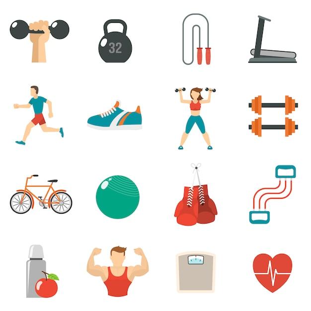 Fitness icon flat set Vetor grátis