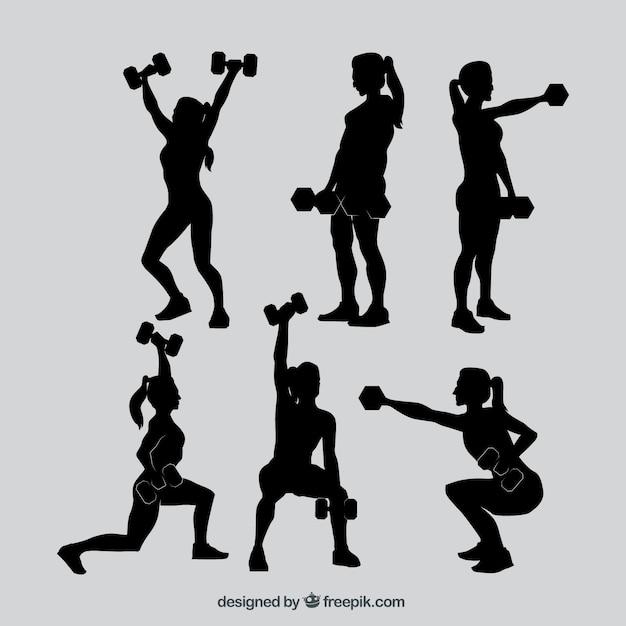 Fitness mulher silhuetas coleção Vetor grátis
