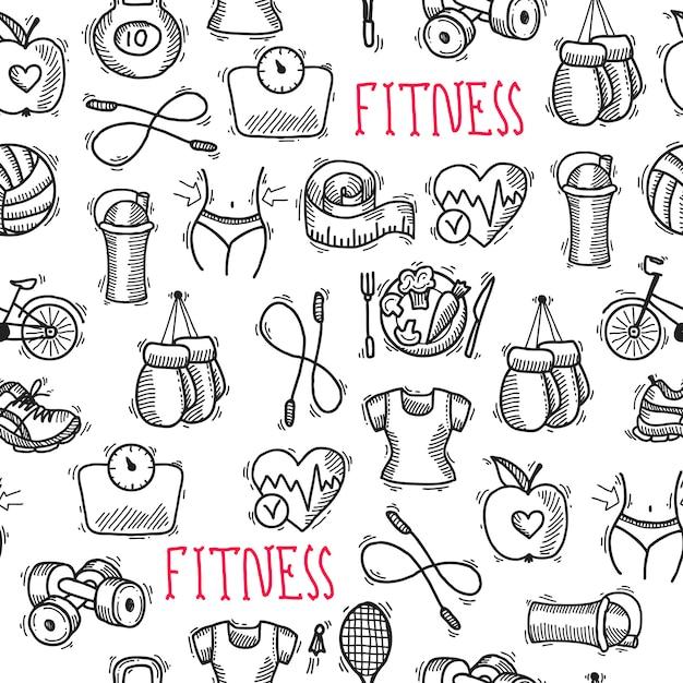 Fitness sketch padrão preto e branco sem costura Vetor Premium