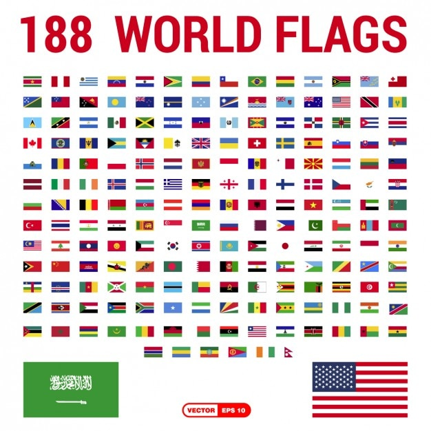 Flags of the world collection Vetor grátis