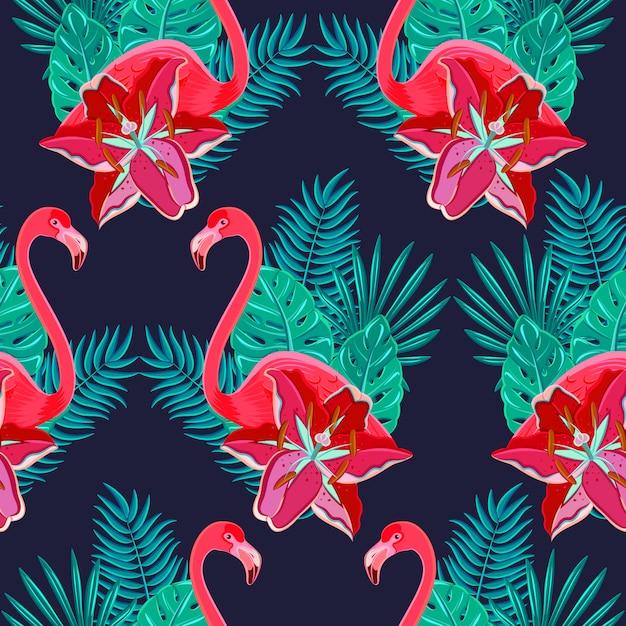 Flamingo aves e tropical hibisco flores brilhantes folhagem tropical Vetor grátis