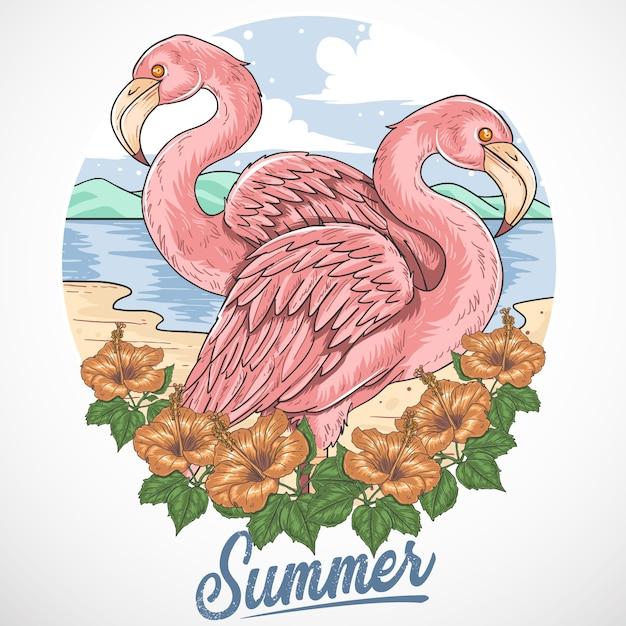 Flamingo beach summer party vetor elemento Vetor Premium
