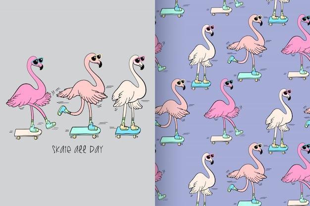 Flamingo bonito desenhada de mão com padrão vector set Vetor Premium