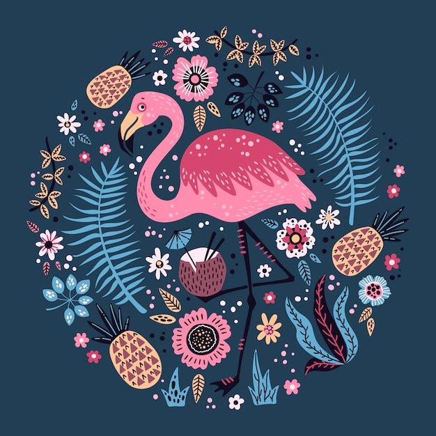 Flamingo bonito do vetor cercado por frutas tropicais, por plantas e por flores. Vetor Premium