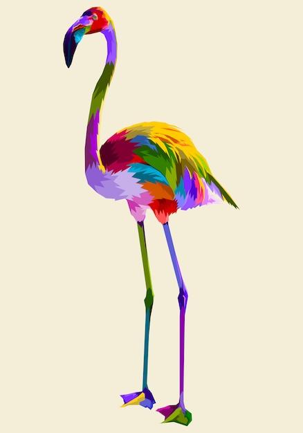Flamingo colorido Vetor Premium