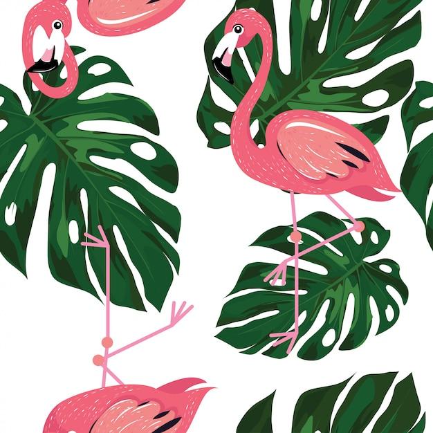 Flamingo com folhas de monstera padrão de verão Vetor Premium