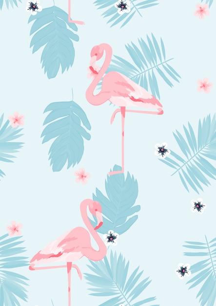 Flamingo cor-de-rosa com teste padrão sem emenda floral das folhas tropicais. Vetor Premium