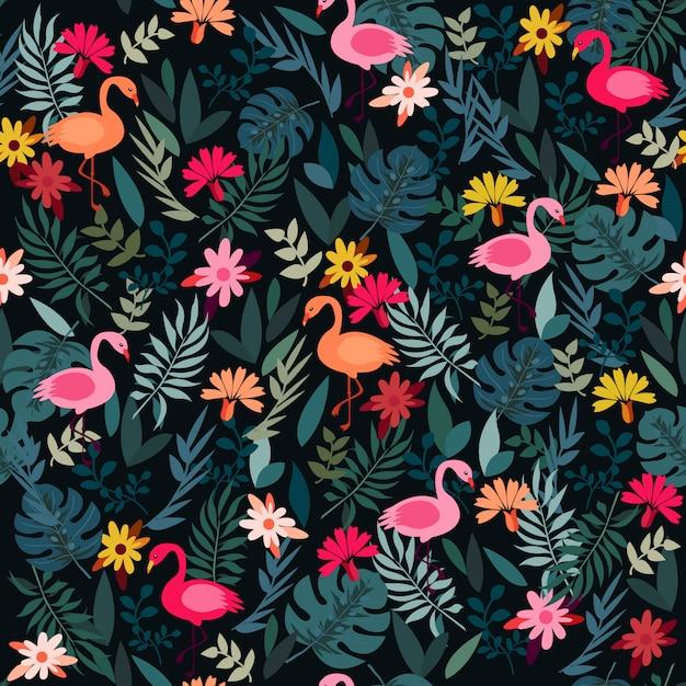 Flamingo de floresta de impressão Vetor Premium