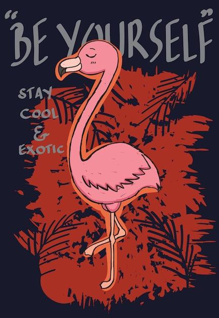 Flamingo desenhado mão para camiseta Vetor Premium