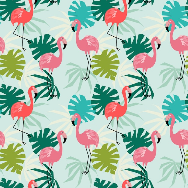 Flamingo e tropical deixa padrão sem emenda. Vetor Premium