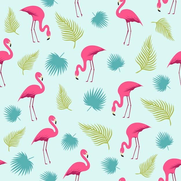 Flamingo e tropical leaves summer pattern Vetor Premium