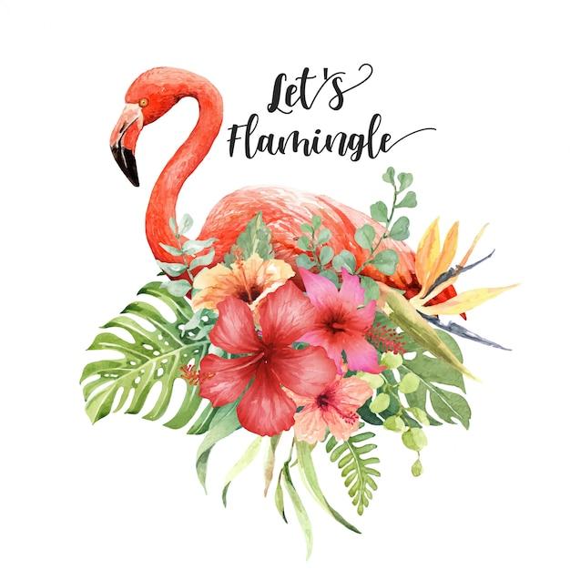 Flamingo em aquarela em buquê de hisbiscus Vetor Premium