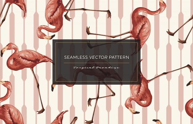 Flamingo padrão sem emenda. Vetor Premium