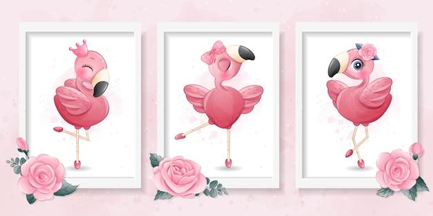 Flamingo pequeno bonito com ilustração de bailarina Vetor Premium
