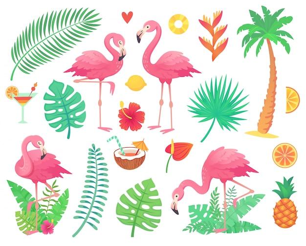 Flamingo rosa e plantas tropicais. Vetor Premium