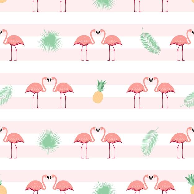 Flamingo rosa sem costura de fundo. ilustração Vetor Premium