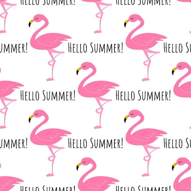 Flamingo sem costura de fundo. Vetor Premium