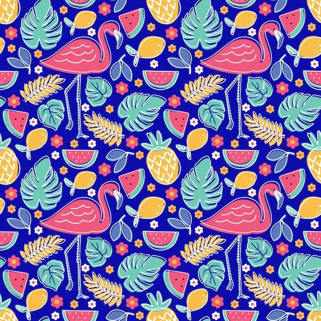 Flamingo tropical frutas abacaxi melancia limão com monstera e folhagem flor padrão sem emenda Vetor Premium