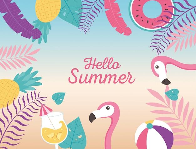 Flamingos bola flutuam coquetel abacaxi exóticas folhas tropicais, olá verão letras ilustração Vetor Premium