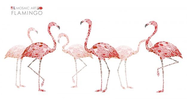 Flamingos cor-de-rosa do mosaico isolados. ilustração vetorial Vetor Premium