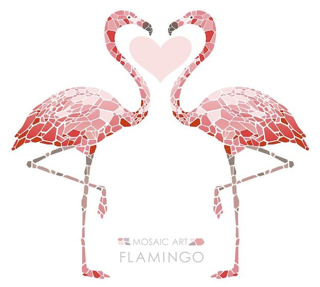 Flamingos cor-de-rosa Vetor Premium