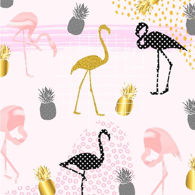 Flamingos criativos com frutas abacaxi Vetor Premium